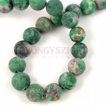 Agate - round bead - Crazy Matt Turquoise Green  - 8mm - strand