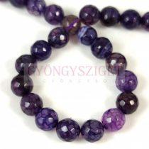 Achát gyöngy - dragon veins - csiszolt - színezett purple  - 8mm - szálon
