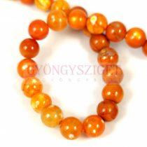 Achát gyöngy - dragon veins - színezett narancs - 8mm - szálon