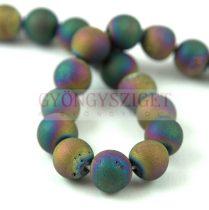 Achát gyöngy - Druzy Rainbow Iris - 8mm - szálon