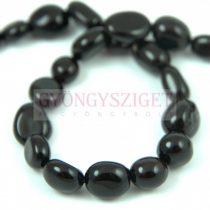 Achat gyöngy - ovális - színezett fekete - 49db/szál
