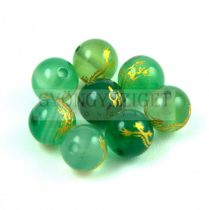 Agate - round bead -Dragon - green - 8mm