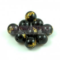 Agate - round bead -Dragon - jet - 8mm