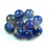 Agate - round bead -Dragon - blue - 8mm