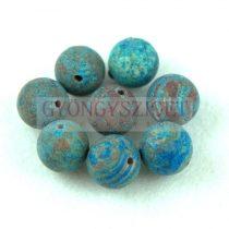 Achát golyó gyöngy - matt - kék erezettel - 10mm