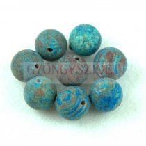 Achát golyó gyöngy - matt - kék erezettel - 12mm