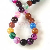 Agate - round bead - mix - 6mm - strand (appr. 60 pcs/strand)