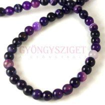 Achát golyó gyöngy - purple mix - 6mm - szálon