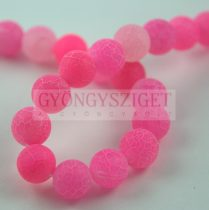 Agate - round bead - matte fuchsia - 8mm (appr. 45 pcs/strand)