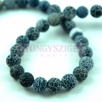 Agate - round bead - matte jet - 8mm (appr. 45 pcs/strand)