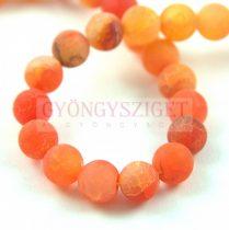 Agate - round bead - matte orange  - 8mm (appr. 45 pcs/strand)