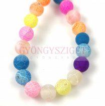 Achát gyöngy - színezett matt - roppantott - candy - 8mm - szálon