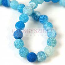 Agate - round bead - Matte Veins - Matt Turquoise Blue - 8mm (appr. 45 pcs/strand)