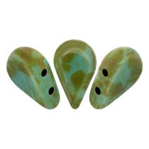 Amos® par Puca®gyöngy - Opaque Green Turquoise Picasso - 5x8 mm