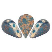 Amos® par Puca®gyöngy - Opaque Blue Turquoise Bronze - 5x8 mm