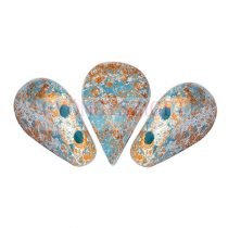 Amos® par Puca®gyöngy - Opaque Blue Turquoise Tweedy - 5x8 mm
