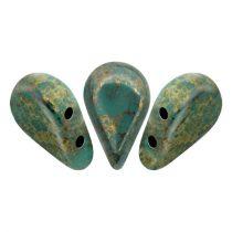 Amos® par Puca®gyöngy - Opaque Green Turquoise Bronze - 5x8 mm