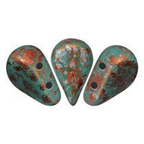 Amos® par Puca®gyöngy - Opaque Green Turquoise Tweedy - 5x8 mm