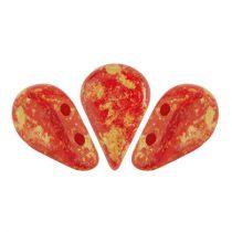 Amos® par Puca®gyöngy - Opaque Coral Red Splash - 5x8 mm