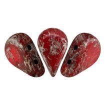 Amos® par Puca®gyöngy - Opaque Coral Red Ladybug - 5x8 mm
