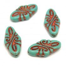 Cseh préselt Arabesque gyöngy - Turquoise Copper - 19x9mm