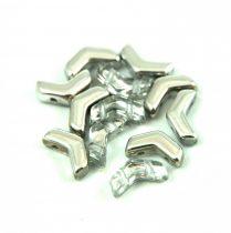 Arrow - cseh kétlyukú gyöngy - Crystal Silver - 5x8mm
