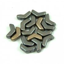 Arrow - cseh kétlyukú gyöngy - Metallic Gray Iris - 5x8mm