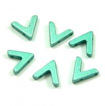 AVA® - Cseh kézzel préselt 3 lyukú gyöngy - polichrome metallic green - 10x4mm
