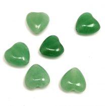 Green aventurine gyöngy - szív - hosszában fúrt - 10mm