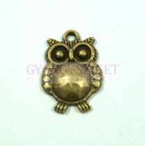 Medál - bagoly - antik sárgaréz színű - 14x20 mm