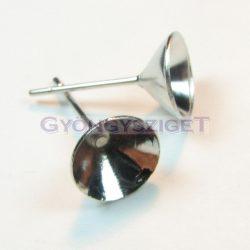 Fülbevaló alap (bedugós) - chaton - világos ezüst színű