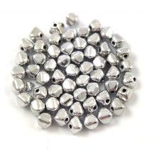 Cseh préselt üveg gyöngy - Bicone - 4mm - Silver