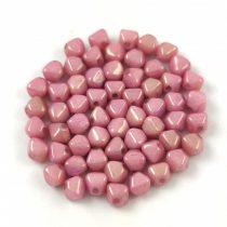 Cseh préselt üveg gyöngy - Bicone - 4mm - Chalk White Pink Luster