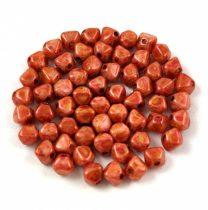 Cseh préselt üveg gyöngy - Bicone - 4mm - Chalk Spotted Copper Luster