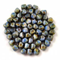 Cseh üveg gyöngy - Bicone - 4mm - Chalk Sapphire Terracotta