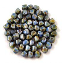 Cseh préselt üveg gyöngy - Bicone - 4mm - Chalk Sapphire Terracotta