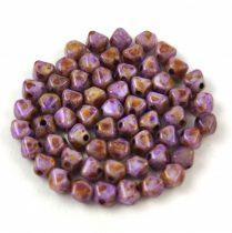 Cseh üveg gyöngy - Bicone - 4mm - Chalk Spotted Dark Violet
