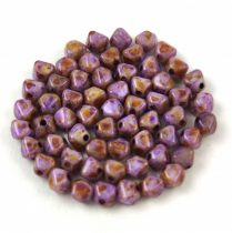 Cseh préselt üveg gyöngy - Bicone - 4mm - Chalk Spotted Dark Violet