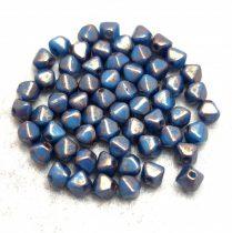 Cseh préselt üveg gyöngy - Bicone - 4mm - Turquoise Blue Bronze