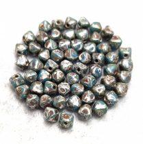 Cseh préselt üveg gyöngy - Bicone - 4mm - Turquoise Blue Picasso