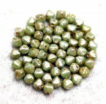 Cseh préselt üveg gyöngy - Bicone - 4mm - Turquoise Green Picasso