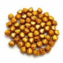 Cseh préselt üveg gyöngy - Bicone - 4mm - Yellow Bronze