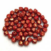 Cseh préselt üveg gyöngy - Bicone - 4mm - Red Bronze Luster
