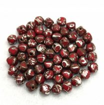 Cseh üveg gyöngy - Bicone - 4mm - Red Picasso Luster