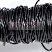 Gömbölyített bőrszál - nyers - fekete - 1,5mm
