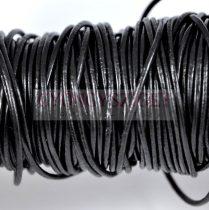Gömbölyített bőrszál - nyers - fekete - 1mm