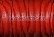 Gömbölyített bőrszál - piros - 2mm