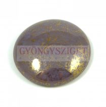 Cseh üveg kaboson - purple gold bronze - 25mm