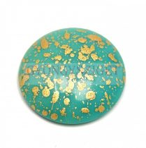 Cseh üveg kaboson - Green Turquoise Gold Patina - 25mm