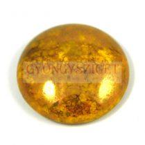 Cseh üveg kaboson - jonquil bronze- 18mm